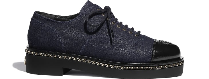 image 1 - Lace Up - Denim & Lambskin - Blue & Black
