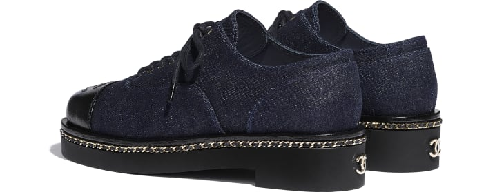 image 3 - Lace Up - Denim & Lambskin - Blue & Black