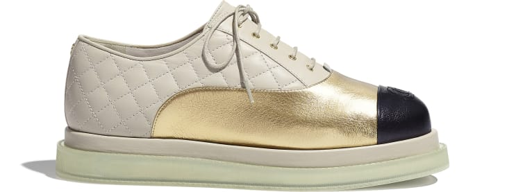 image 1 - Lace-Ups - Laminated Goatskin & Calfskin  - Gold, Light Beige & Black
