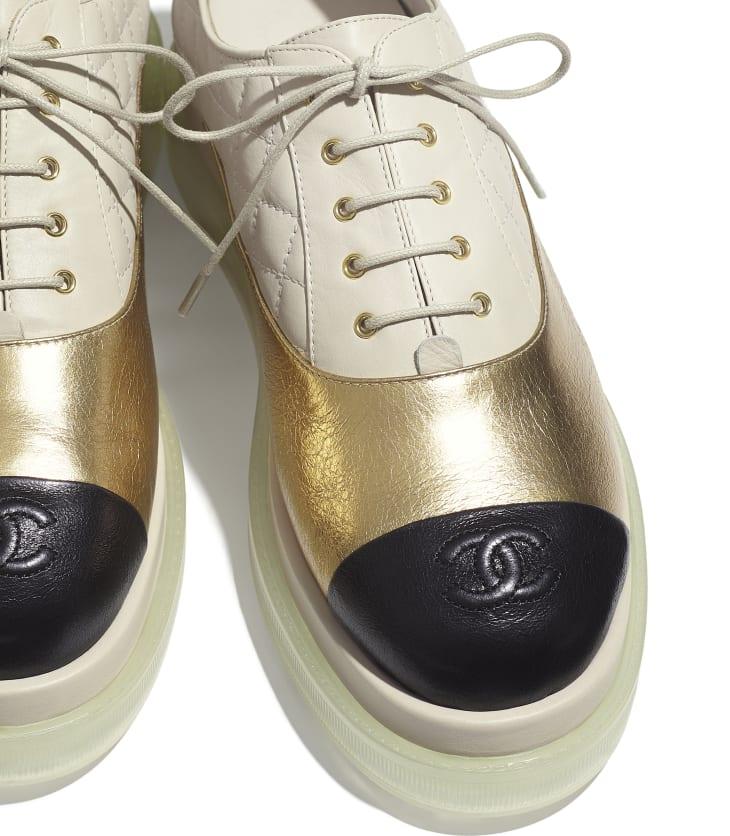 image 4 - Lace-Ups - Laminated Goatskin & Calfskin  - Gold, Light Beige & Black