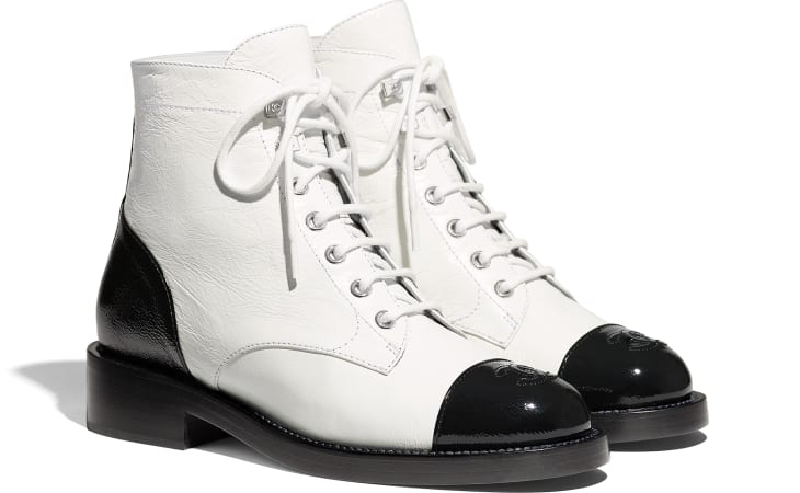 image 2 - Lace-Ups - Crumpled Lambskin & Shiny Calfskin - White & Black