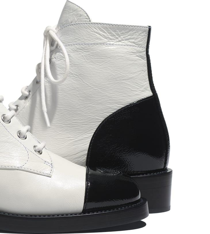 image 4 - Lace-Ups - Crumpled Lambskin & Shiny Calfskin - White & Black