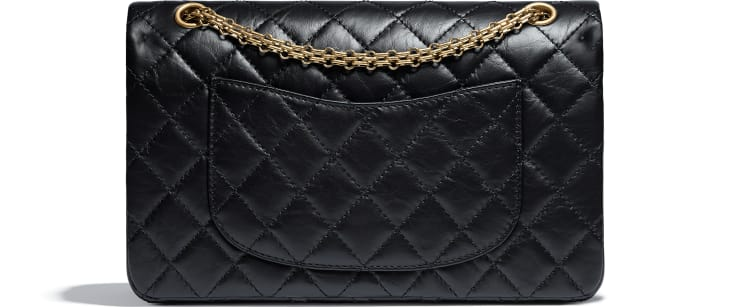 image 2 - Large 2.55 Handbag - Aged Calfskin & Gold-Tone Metal - Black