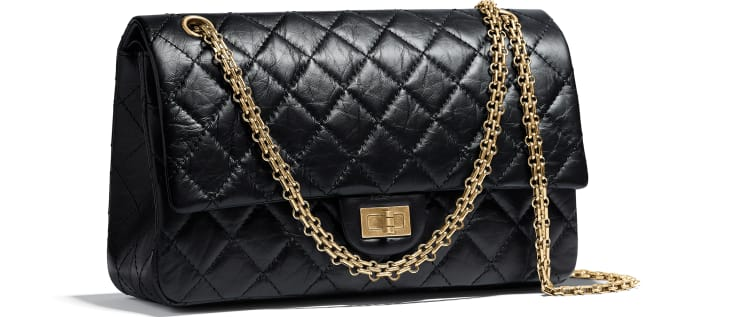 image 3 - Large 2.55 Handbag - Aged Calfskin & Gold-Tone Metal - Black