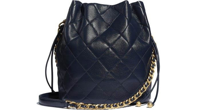 image 2 - Large Drawstring Bag - Shiny Lambskin & Gold-Tone Metal - Navy Blue