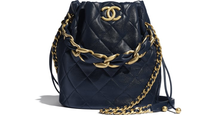 image 1 - Large Drawstring Bag - Shiny Lambskin & Gold-Tone Metal - Navy Blue