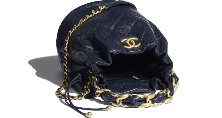 image 3 - Large Drawstring Bag - Shiny Lambskin & Gold-Tone Metal - Navy Blue