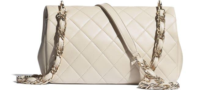 image 2 - Grand sac à rabat - Agneau & métal doré - Beige