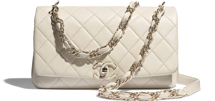image 4 - Grand sac à rabat - Agneau & métal doré - Beige