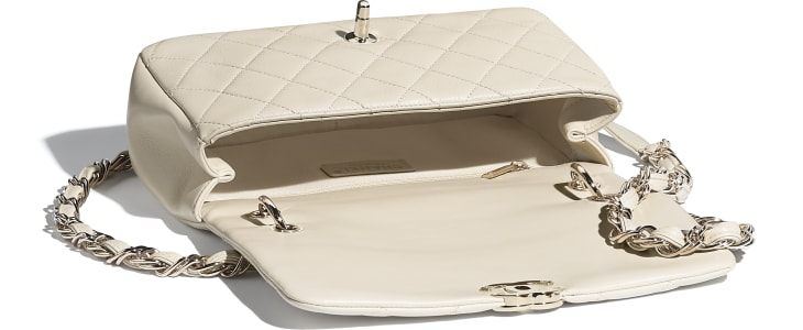 image 3 - Grand sac à rabat - Agneau & métal doré - Beige