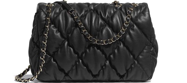 image 2 - Large Flap Bag - Calfskin & Gold-Tone Metal - Black