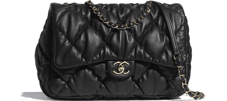 image 1 - Large Flap Bag - Calfskin & Gold-Tone Metal - Black