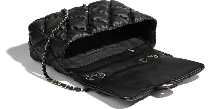 image 3 - Large Flap Bag - Calfskin & Gold-Tone Metal - Black