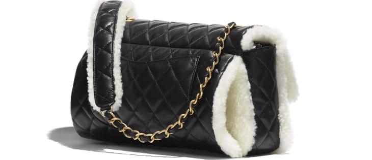 image 2 - Large Flap Bag - Lambskin, Shearling Lambskin & Gold-Tone Metal - Black & White