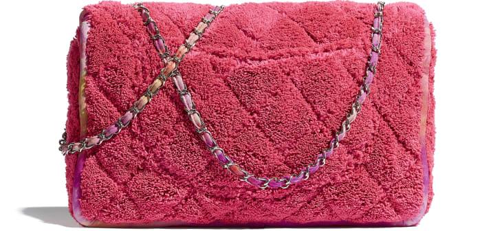 image 2 - Large Flap Bag - Mixed Fibers & Silver-Tone Metal - Coral