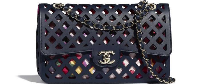 image 1 - Large Flap Bag - Perforated Calfskin, Printed Fabric & Gold-Tone Metal - Navy Blue
