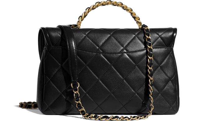 image 2 - Large Flap Bag with Top Handle - Lambskin, Shiny Crumpled Calfskin & Gold-Tone Metal - Black