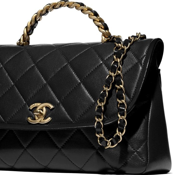 image 4 - Large Flap Bag with Top Handle - Lambskin, Shiny Crumpled Calfskin & Gold-Tone Metal - Black