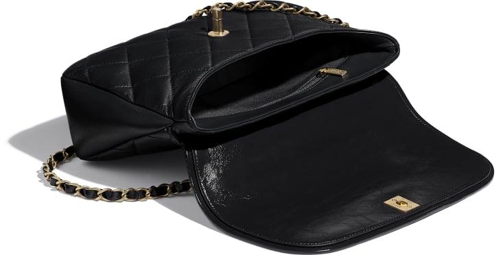 image 3 - Large Flap Bag with Top Handle - Lambskin, Shiny Crumpled Calfskin & Gold-Tone Metal - Black