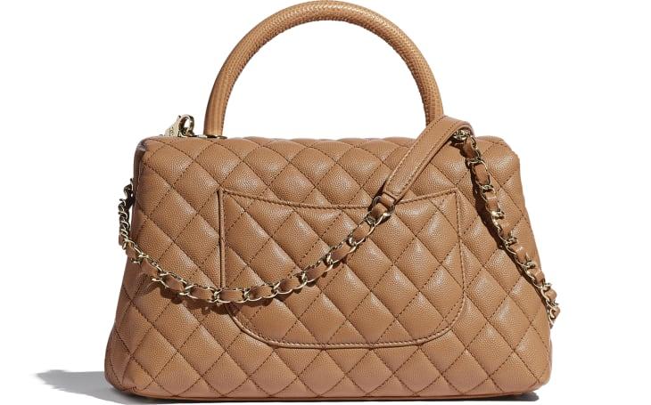 image 2 - Large Flap Bag with Top Handle - Grained Calfskin, Lizard Embossed Calfskin & Gold-Tone Metal - Brown