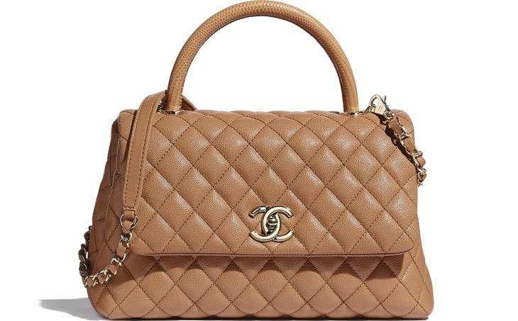 image 1 - Large Flap Bag with Top Handle - Grained Calfskin, Lizard Embossed Calfskin & Gold-Tone Metal - Brown