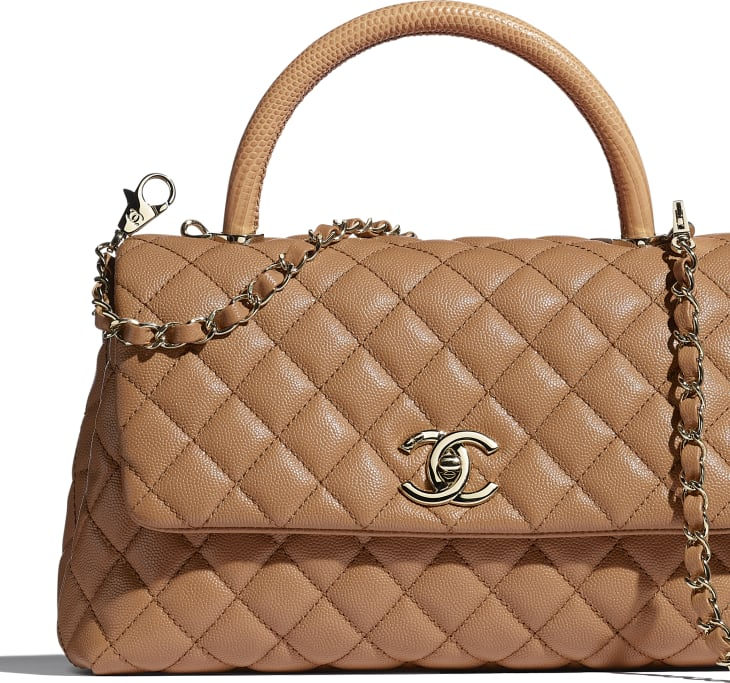image 4 - Large Flap Bag with Top Handle - Grained Calfskin, Lizard Embossed Calfskin & Gold-Tone Metal - Brown