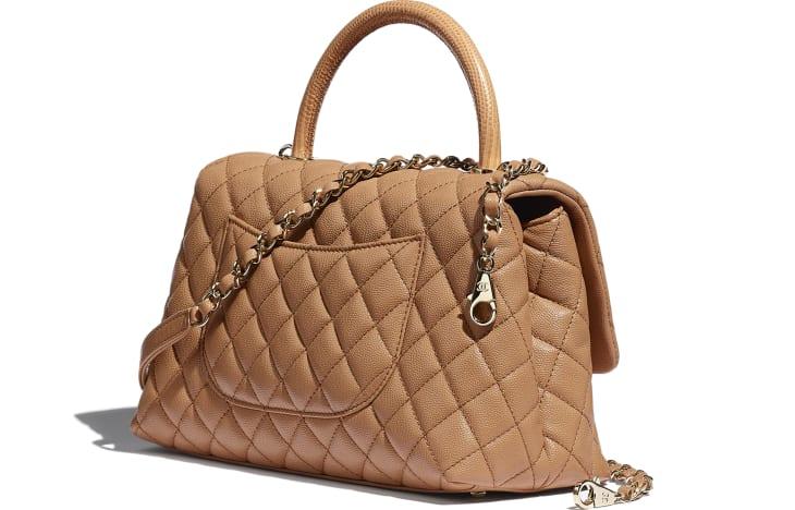 image 3 - Large Flap Bag with Top Handle - Grained Calfskin, Lizard Embossed Calfskin & Gold-Tone Metal - Brown