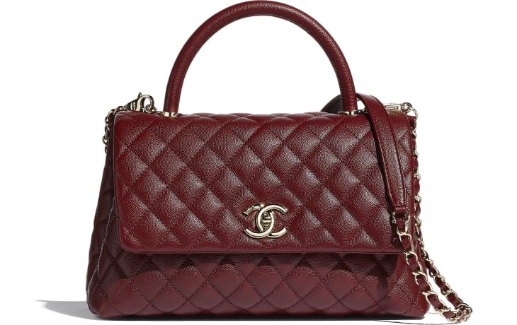 image 1 - Large Flap Bag With Top Handle - Grained Calfskin & Gold-Tone Metal - Burgundy
