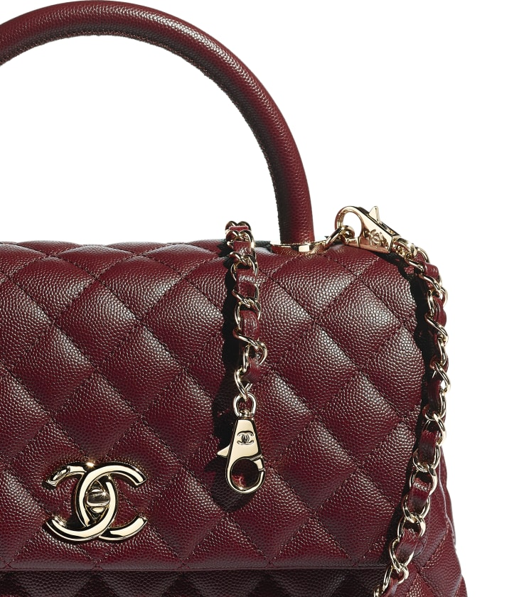 image 4 - Large Flap Bag With Top Handle - Grained Calfskin & Gold-Tone Metal - Burgundy