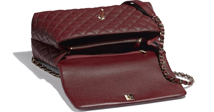 image 3 - Large Flap Bag With Top Handle - Grained Calfskin & Gold-Tone Metal - Burgundy