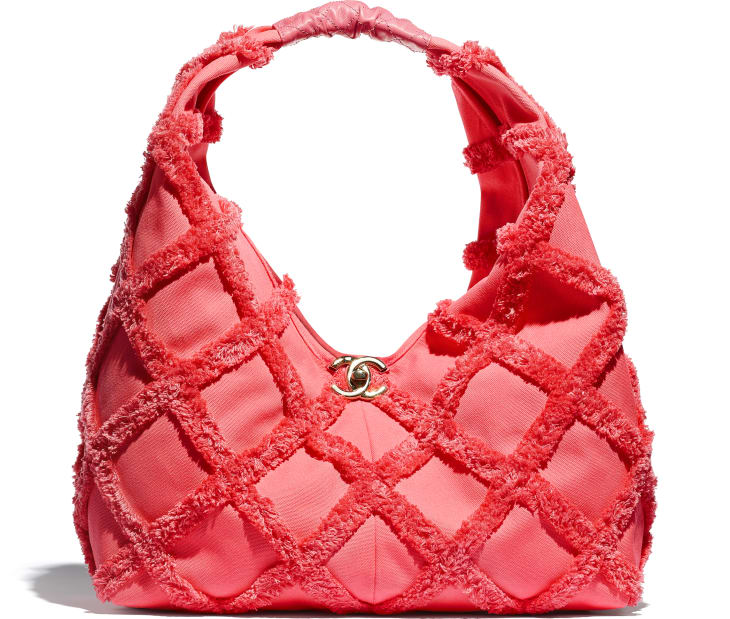image 1 - Large Hobo Bag - Cotton Canvas, Calfskin & Gold-Tone Metal - Coral