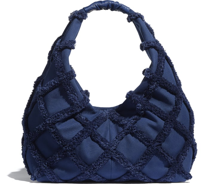 image 2 - Large Hobo Bag - Cotton Canvas, Calfskin & Gold-Tone Metal - Navy Blue