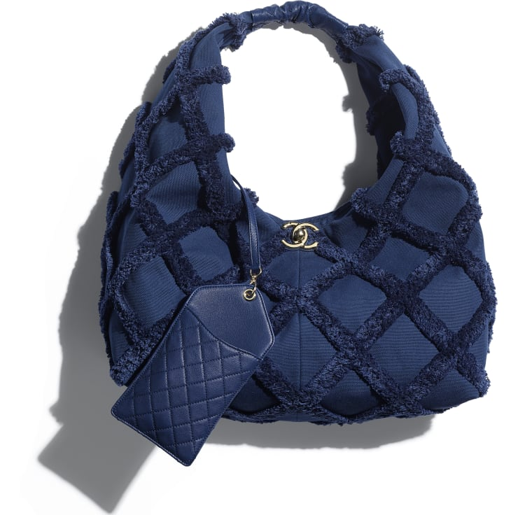 image 4 - Large Hobo Bag - Cotton Canvas, Calfskin & Gold-Tone Metal - Navy Blue