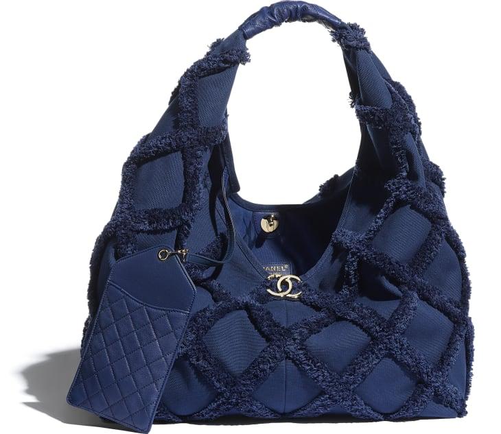 image 3 - Large Hobo Bag - Cotton Canvas, Calfskin & Gold-Tone Metal - Navy Blue