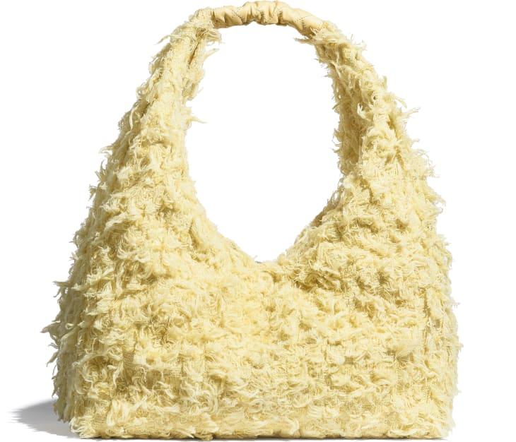 image 2 - Large Hobo Bag - Tweed, Calfskin & Gold-Tone Metal - Yellow