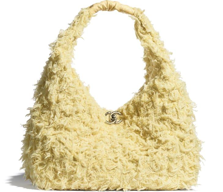 image 1 - Large Hobo Bag - Tweed, Calfskin & Gold-Tone Metal - Yellow