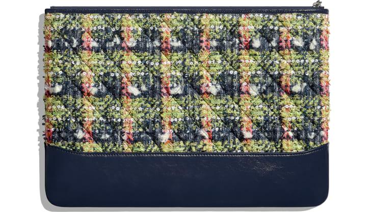 image 2 - Grande pochette - Tweed, veau, métal doré, argenté & finition ruthénium - Bleu marine, vert, rose & blanc