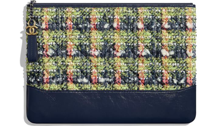 image 1 - Grande pochette - Tweed, veau, métal doré, argenté & finition ruthénium - Bleu marine, vert, rose & blanc