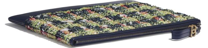 image 4 - Grande pochette - Tweed, veau, métal doré, argenté & finition ruthénium - Bleu marine, vert, rose & blanc