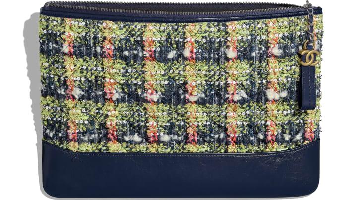 image 3 - Grande pochette - Tweed, veau, métal doré, argenté & finition ruthénium - Bleu marine, vert, rose & blanc