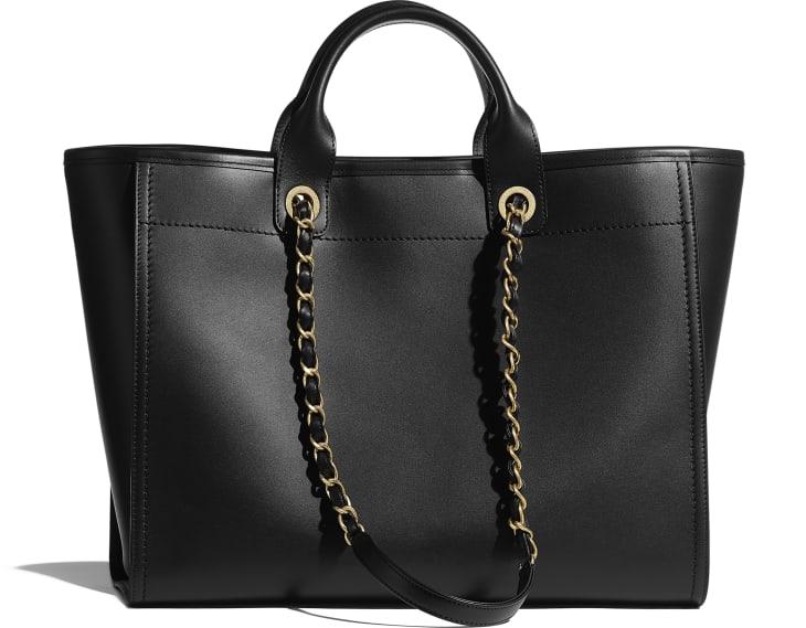 image 2 - Large Shopping Bag - Calfskin & Gold-Tone Metal - Black