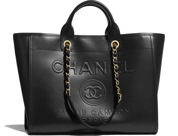 image 1 - Large Shopping Bag - Calfskin & Gold-Tone Metal - Black