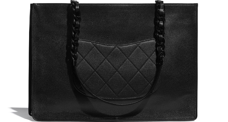 image 2 - Large Tote - Grained Calfskin & Lacquered Metal - Black