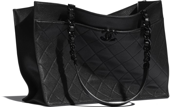 image 4 - Large Tote - Grained Calfskin & Lacquered Metal - Black