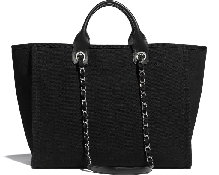 image 2 - Large Tote - Mixed Fibers, Imitation Pearls, Silver-Tone Metal - Black