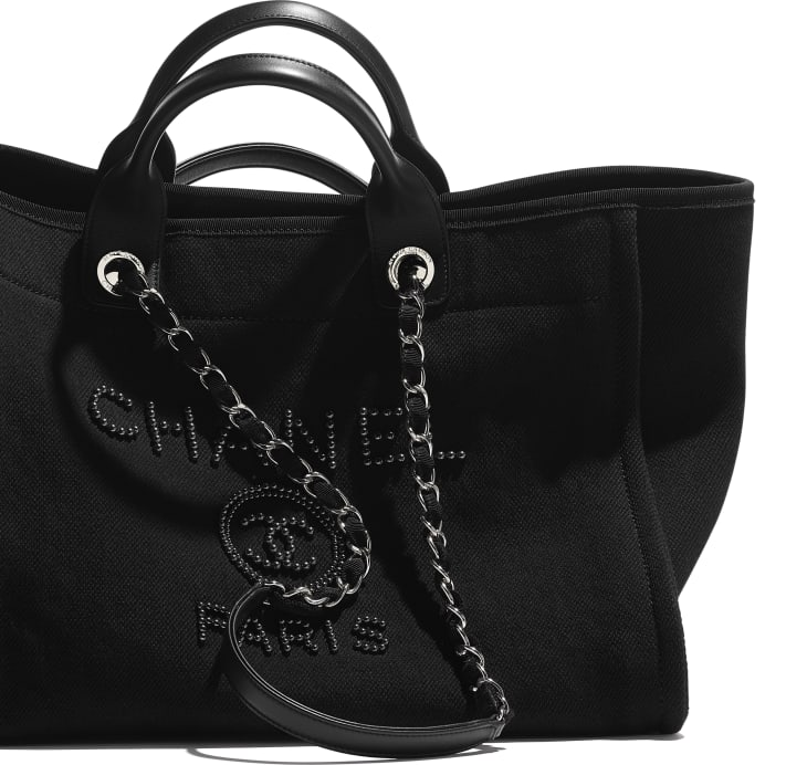 image 4 - Large Tote - Mixed Fibers, Imitation Pearls, Silver-Tone Metal - Black