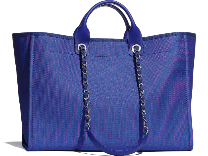 image 2 - Grand cabas - Fibres mélangées & métal argenté - Bleu & orange