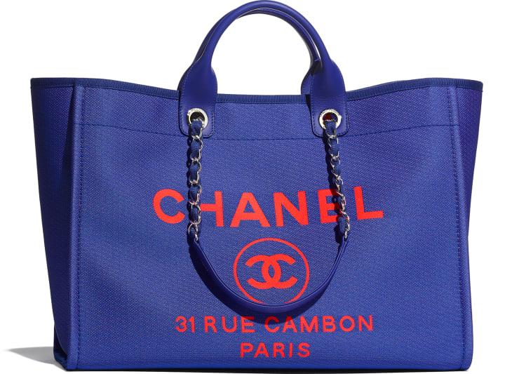 image 1 - Grand cabas - Fibres mélangées & métal argenté - Bleu & orange