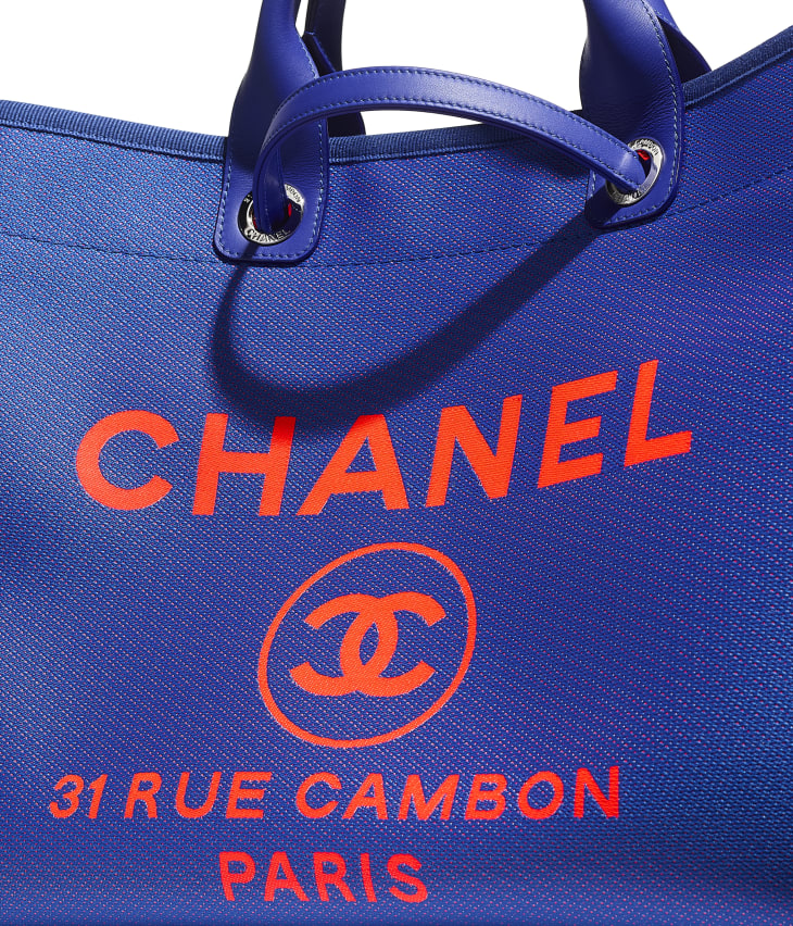 image 4 - Grand cabas - Fibres mélangées & métal argenté - Bleu & orange