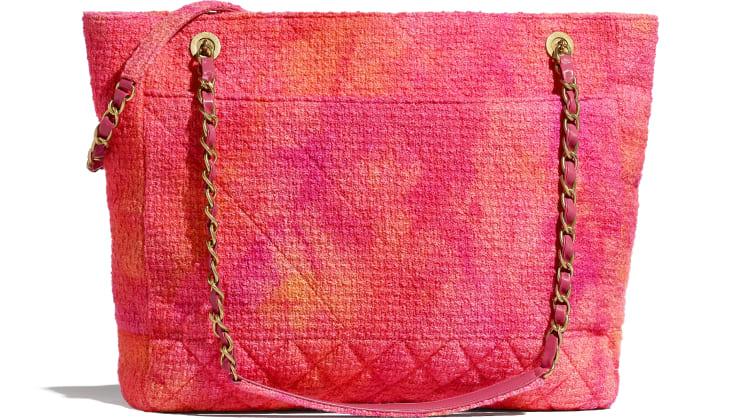 image 2 - ラージ ショッピング バッグ - ベルベット ツイード - コーラル、ピンク & オレンジ